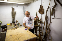 Artist and arborist Frank C Buddingh' at work at Highbrook Studio